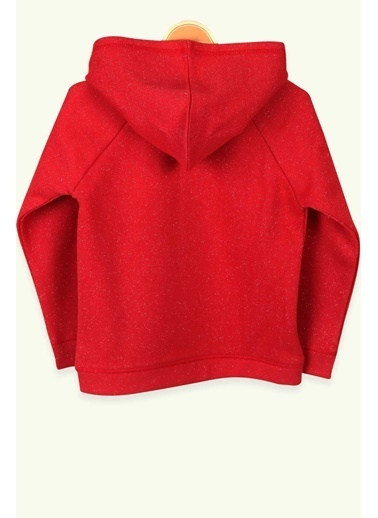 Breeze Kız Çocuk Hırka Kapüşonlu Nakışlı Simli Kırmızı (6-12 Yaş) Kırmızı